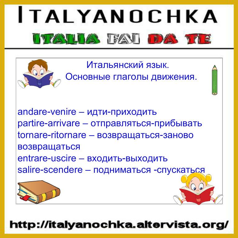 Глаголы движения на итальянском языке